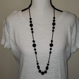 Candie's black beaded necklace and chain